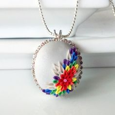 Rainbow Flowers PETIT FOUR NECKLACE clay cabochon by AncaPeelma