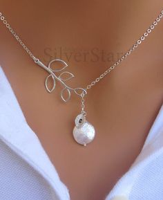 'White Coin Pearl Lariat & Double Coin Pearl Necklace' is going up for auction at  7am Tue, Feb 26 with a starting bid of $15.