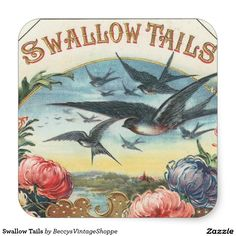 Swallow Tails Square Sticker