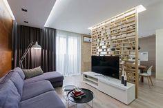 Modern lakás természetes anyagokkal és színárnyalatokkal - 84m2 - fa padló furnérlemez famozaik és tégla