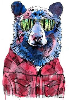 hipster bear with shades