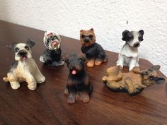 6 mixed TiNY DOG Puppy terrier, yorkie, german Shepherd miniature figures