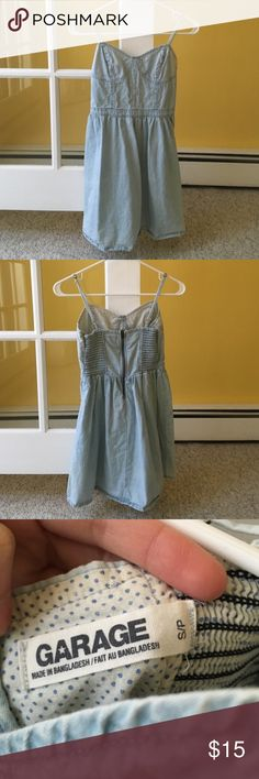 Garage polka dot chambray dress Light blue color with white polka dots, only worn twice, good condition, two bleach spots on front as pictured Garage Dresses Mini