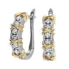Золотые серьги с бриллиантами э10с071561 (AU 585)