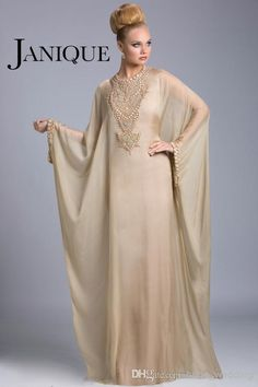 Wholesale Plus Size Evening Gowns Dubai Abaya Arabic Mother Of The Bride Dresses Jewel Beads Batwing Long Sleeves Floor Length Chiffon Janique JQ3402, Free shipping, $125.31/Piece   DHgate Mobile