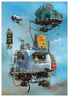 Turbo - Reactive Diesel - Punk - Flying Retro Cars by Alejandro Burdisio Flying Car, Scrap Metal Art, Illustrator, Art Archive, Sci Fi Fantasy, Sci Fi Art, Dieselpunk, Motion Design, Cool Art