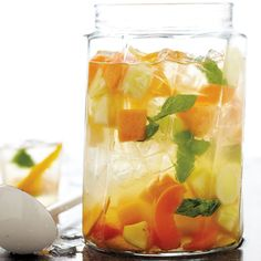 A pitcher of sangria made with white wine, fruit, and liqueur will get the party started.