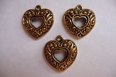 Charm, Antiqued, Gold Finished, Pewter,  zinc based alloy, 20x19mm, single sided, open heart, with swirls, Pkg Of 5 by darsjewelrysupplies. Explore more products on http://darsjewelrysupplies.etsy.com