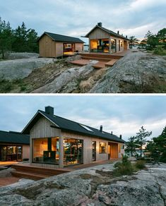 The design of these modern holiday cabins draw inspiration from traditional Finnish archipelago aesthetics, and feature cabled roof, long eaves, extended gutters, and vertical cladding. Scandinavian Architecture, Scandinavian Home, Archipelago, Cabin Design, House Design, Contemporary Cabin, Summer Cabins, Cabin Interiors, Cabins And Cottages