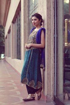 Pakistani actress Mahira Khan in a vintage velvet outfit
