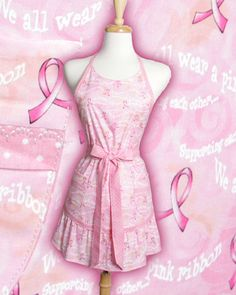 Pink Breast Cancer Apron Breast Cancer Awarness by apronqueen,