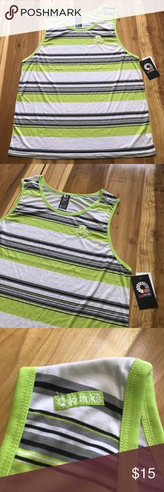 "akademiks Mens Tank Sz 4XL Lime Green Striped E26- akademiks Mens Tank Sz 4XL Lime Green Striped New with Tags. Small discoloration on the back as shown in last photo.  Please, see pictures for condition.  Retail Price: $24.00 Materials: 100% Polyester Approx Measurements: Armpit to Armpit- 26"" Shoulder to Bottom Hem- 34"" Strap Width- 4"" Akademiks Shirts Tank Tops"