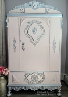 Finished and available! I've been working on this for a couple of months. Finally finished it! This vintage wardrobe has gotten a complete makeover. A soft pink silver details (took FOREVER). I'll post more pics tomorrow. Hope you all love it! I used Dixie Belle Paint Company Tea Rose/Pink Champagne Silver Bullet & added the WoodUbend Mouldings to the door sides and bottom. They look like they were always there!