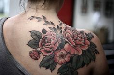 Alice Carrier tattoo roses on shoulder love everything about this