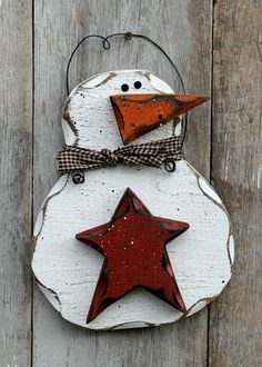 Rustic Winter Decor, Barn Red Star Primitive Snowman