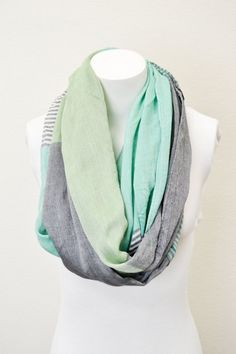 MINT INFINITY SCARF - Mint green color block Circle Scarf - Chunky lightweight mint scarf  Nursing Scarf  Women's Fashion Accessory