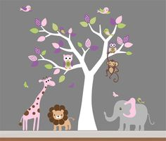 Baby Room Wall Decor Nursery Jungle Wall Decal- Tree,Monkey,Elephant,Giraffe Wall Decals. Would change the colors for a boy.