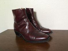 Vtg Mens King Burgundy Leather Zip Beatles Ankle Boots 12 D Hipster Casual Dress #King #AnkleBoots