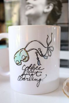 Coffee/Tea Mug: Coffee First, Darling {11 oz Ceramic Mug} {Breakfast at Tiffany's, Audrey Hepburn, Fashion Illustration, Porcelain Mug, Cup}