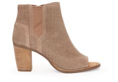 Stucco Suede Perforated Women's Majorca Peep Toe Booties |TOMS.com