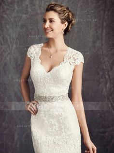 Exquisite Lace Embroiderecd Sheath Lace Wedding Dress with Crystal Detailling Ribbon _3