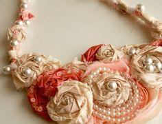 Big flower necklace tutorial #diy,#necklace,#fabric_flower,#flower