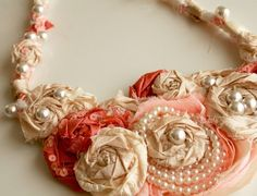 Fabric flower necklace tutorial: Alisa Burke. Link has a ton of creative ideas/tutorials for different projects made from the same materials.