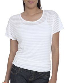 Tie Back Striped Dolman Tee - Tops