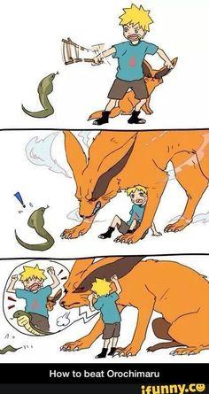 How to Beat Orochimaru, Naruto, childhood, Bijuu, Jinchuuriki, Kurama, Kyuubi, cute, snake, funny, comic, text; Naruto