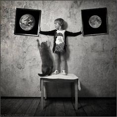 A Girl and Her Cat: Moon and Earth