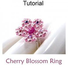 Cherry Blossom Flower Ring Jewelry Beading Tutorial Pattern