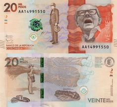 Banknote: Colombia 20000 Pesos P-New Unc Alfonso Lopez, Visa Card, Elder Scrolls, I Got This, Cryptocurrency, Stamp, World, Traveling By Yourself, Cards