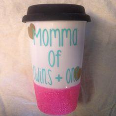 Twin momma  plus one ceramic coffee travel by FarmhouseChicHanna