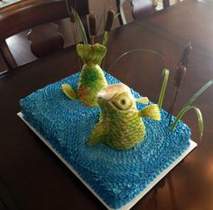 "Side view of the ""fish cake."""