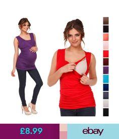 Maternity Happy Mama. Women's Maternity Nursing Top Stretch Sleeveless Tunic 10-18. 371P #ebay #Fashion