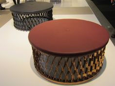 'Steelo' metal and leather poufs by David Regestam and Junichi Tokuda for Karl Andersson & Söner