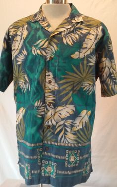 RALPH LAUREN Chaps Men's Casual Hawaiian Multi-color Cotton Shirt Size LARGE EUC #RALPHLAUREN #Hawaiian
