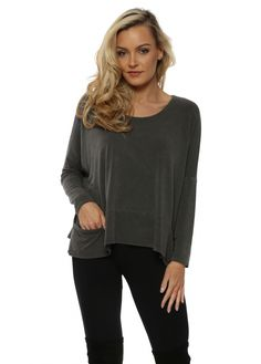 A POSTCARD FROM BRIGHTON Bark Melange Pammy Slouch Jersey Top