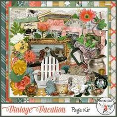 Vintage Vacation, a digital scrapbook collection, was inspired by Victorian posters and advertising cards for luxury spas, ocean cruises, private train car excursions and mountain retreats. It is easy to imagine our great grandparents enjoying a cup of tea while watching a game of croquet. The lovely palette is directly from a vintage poster; it is cheerful and romantic at the same time.