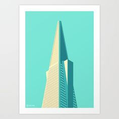 Buy San Francisco Towers - 01 - Transamerica Pyramid (Teal/Sans Text) Art Print by Coen Pohl. Worldwide shipping available at Society6.com. Just one of millions of high quality products available.