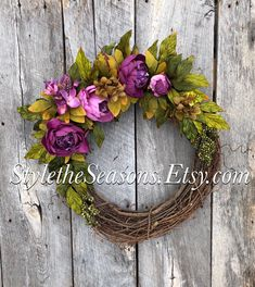 Excited to share the latest addition to my #etsy shop: Spring Door Wreath, Spring Wreath, Spring Wreaths for Front Door, Spring Peony Wreath, Front Door Wreath, Purple Wreath, Mothers Day Wreath