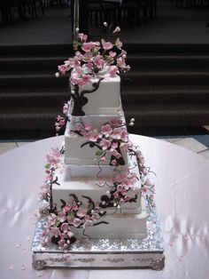 cherry blossom wedding cake - buttercream frosted square wedding cake with gumpaste/sugar cherry blossoms