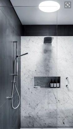 SHOWER Niche, porcelain panel walls (no grout - easy clean).