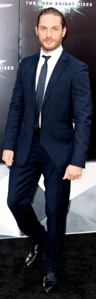 British actor Tom Hardy wearing Burberry Tailoring to 'The Dark Knight Rises' World Premiere last night in New York