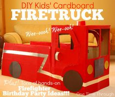 FireFighter 3rd Birthday Party: Part 1 of a 4 part series describing the ultimate hands-on Firefighter Party for kids.  Find instructions here for this awesome DIY Cardboard Firetruck for #pretendplay {One Time Through} #kidscrafts #firefighters