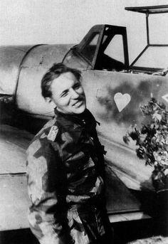 One of the last know wartime photos of Erich Hartmann, taken at Chrudim, in Czechoslovakia, on 17 April 1945. 'Bubi' had just landed after claiming his 350th victory (a Yak-9), pin by Paolo Marzioli