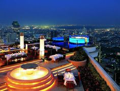 """Sirocco is the world's largest all open-air restaurant and """"Sky Bar"""", located on the floor of the State Tower in Bangkok, Thailand, which is the. Sky Bar Bangkok, Bangkok Hotel, Bangkok Thailand, Bangkok Travel, Thailand Travel, Thailand Honeymoon, Hotels And Resorts, Best Hotels, Luxury Hotels"""