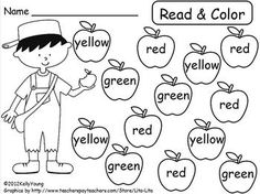 Johnny Appleseed Read & Color, Roll & Cover - Young and Lively Kindergarten - TeachersPayTeachers.com