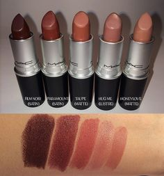 by maclipstickss Mac Cosmetics Lipstick, Lipstick Swatches, Makeup Swatches, Mac Lipsticks, Nude Lipstick, Beauty Makeup, Mac Taupe, Makeup Lips, Beauty