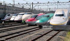 All successive series of Tohoku Shinkansen bullet trains, (L to R) E3 Komachi, E3 Tsubasa, E1 Max, 200, E6, E5 and E4 Max are displayed at JR East's Oyama Shinkansen Train Center on May 19, 2012 in Oyama, Tochigi, Japan.